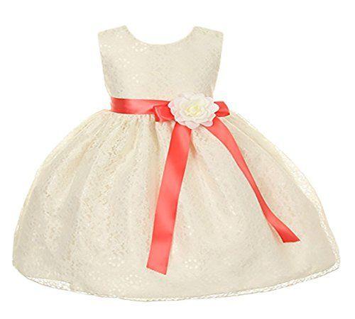 Cinderella Couture BabyGirls Ivory Lace Dress Coral Sash Iv Flw 12M Med 1132B