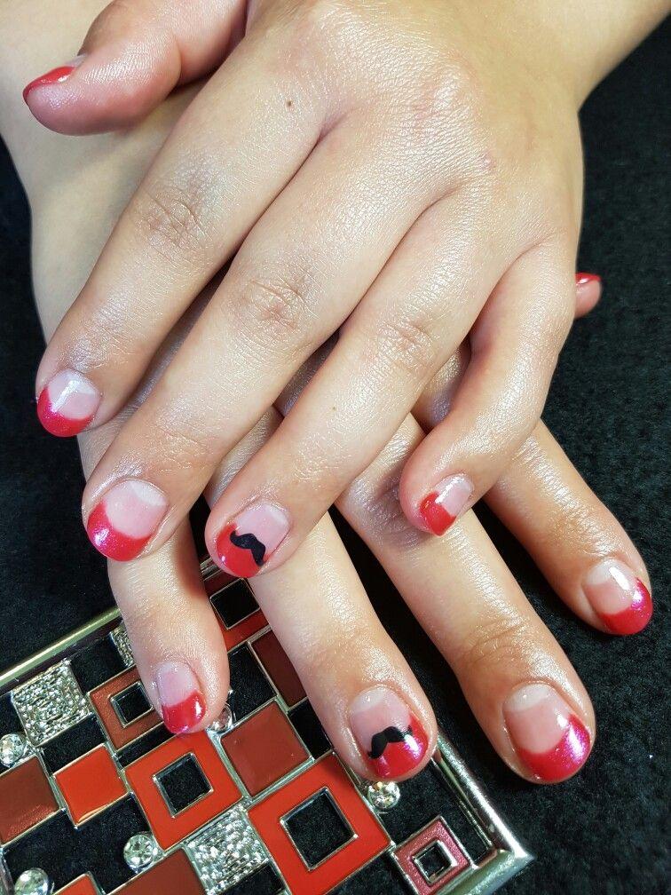gel Polish nails featuring bioseaweed gel Mars. mustache gel Polish nails