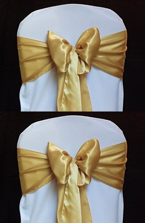 party decorations chair covers stand up for elderly mds pack of 100 satin sashes bow wedding and events supplies decoration cover sash gold