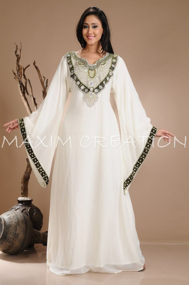 Beautiful Dubai Caftan Dress Abaya Jilbab Islamic Kheleeji Sequins