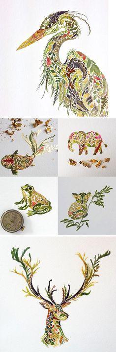 Neue gepresste Farn-, Algen- und Blattgold-Illustrationen von Helen Ahpornsiri