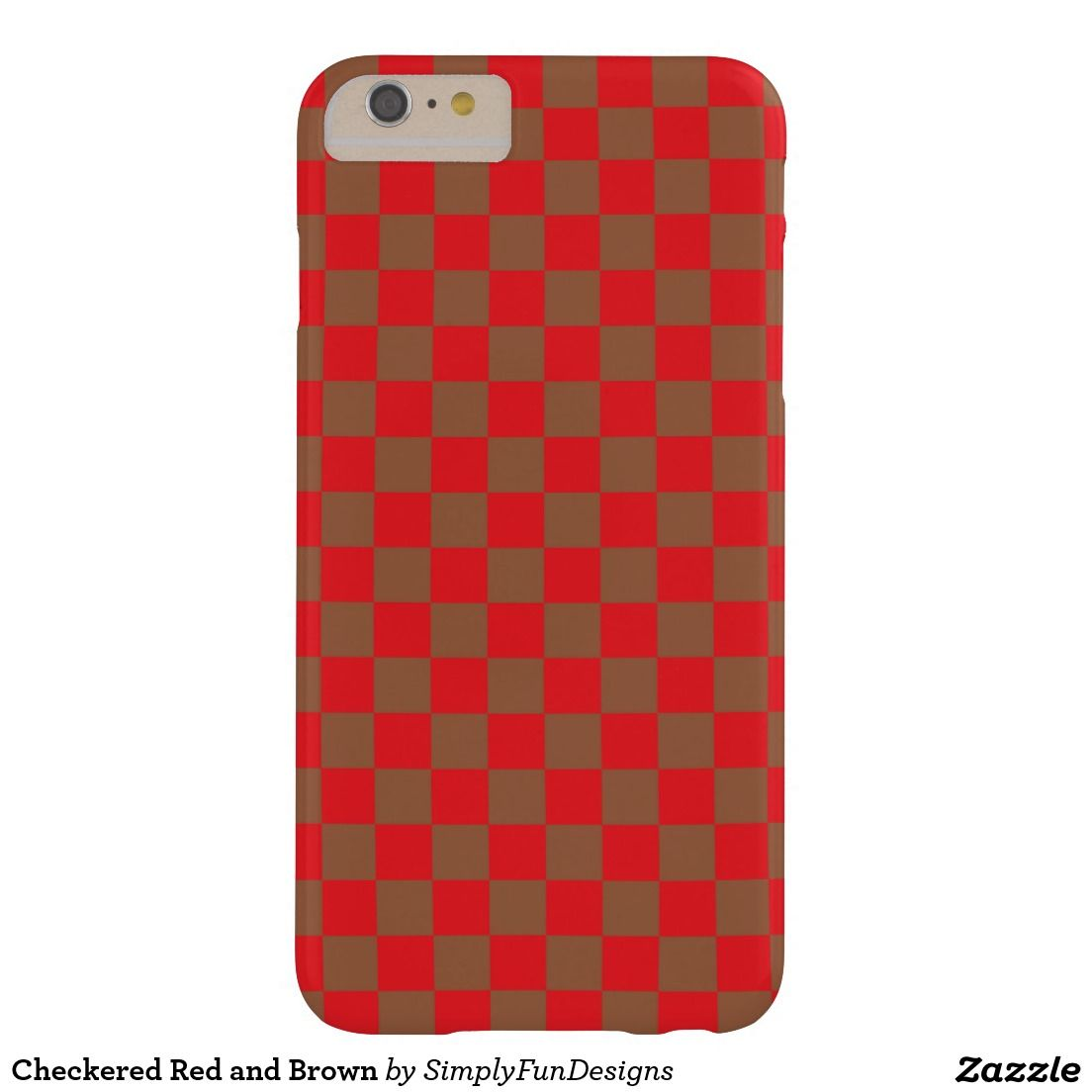 Checkered Red and Brown Barely There iPhone 6 Plus Case