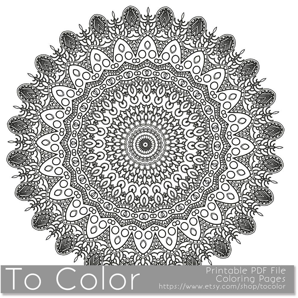 Intricate Printable Coloring Pages For Adults Gel Pens Mandala Pattern Pdf Jpg Instant Downloa Printable Coloring Pages Coloring Pages Love Coloring Pages