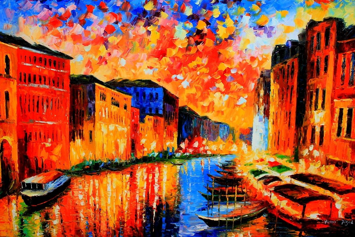 beautiful vibrant cityscape oil painting from FineProArt ...
