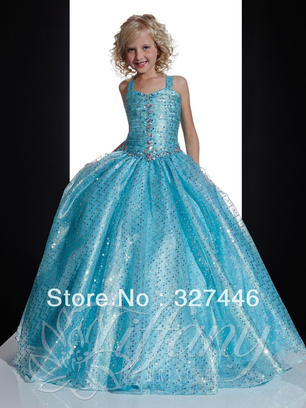Glitz Puffy Cute Ball Gown New Bateau Long Blue Crystal Flower Girl ...