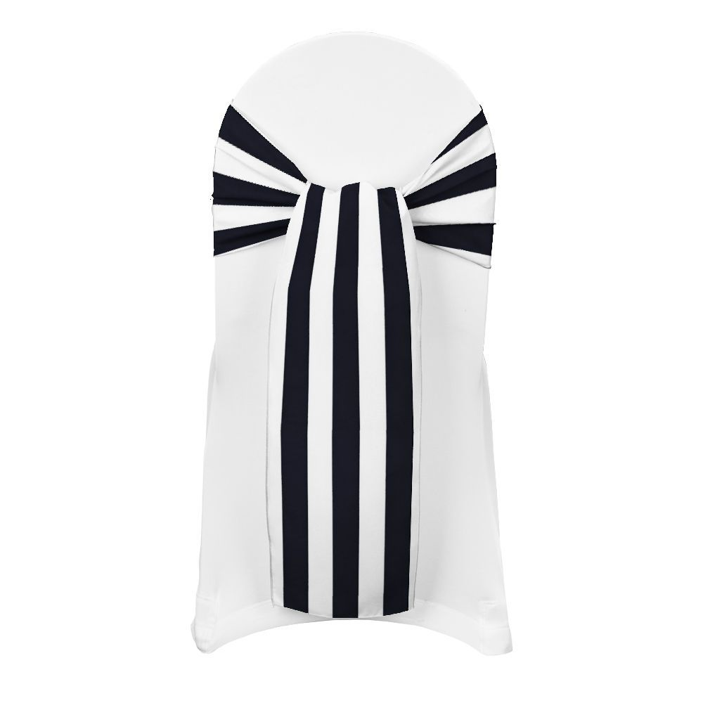 Black chair and white chair - Black Printed Stripe Sash By Chair Covers U0026 Linens