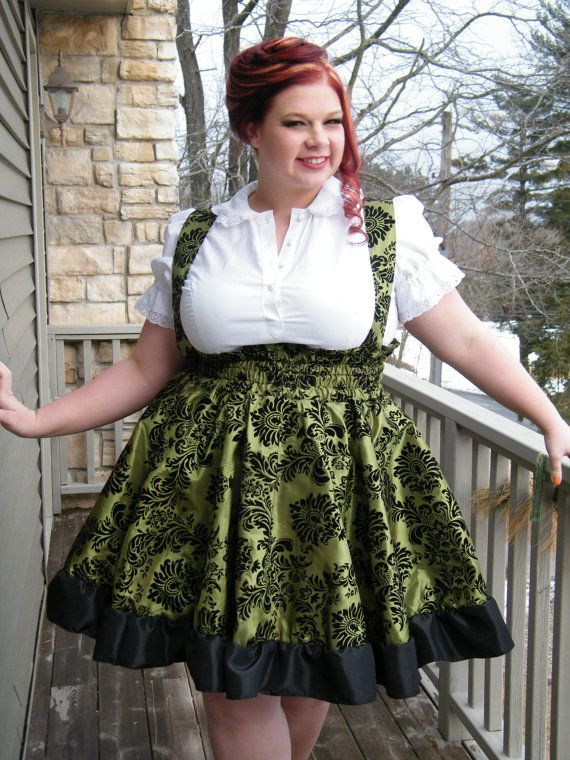 Plus Size Gothic Lolita Dress Lime Green Flocked by KMKDesignsllc ...