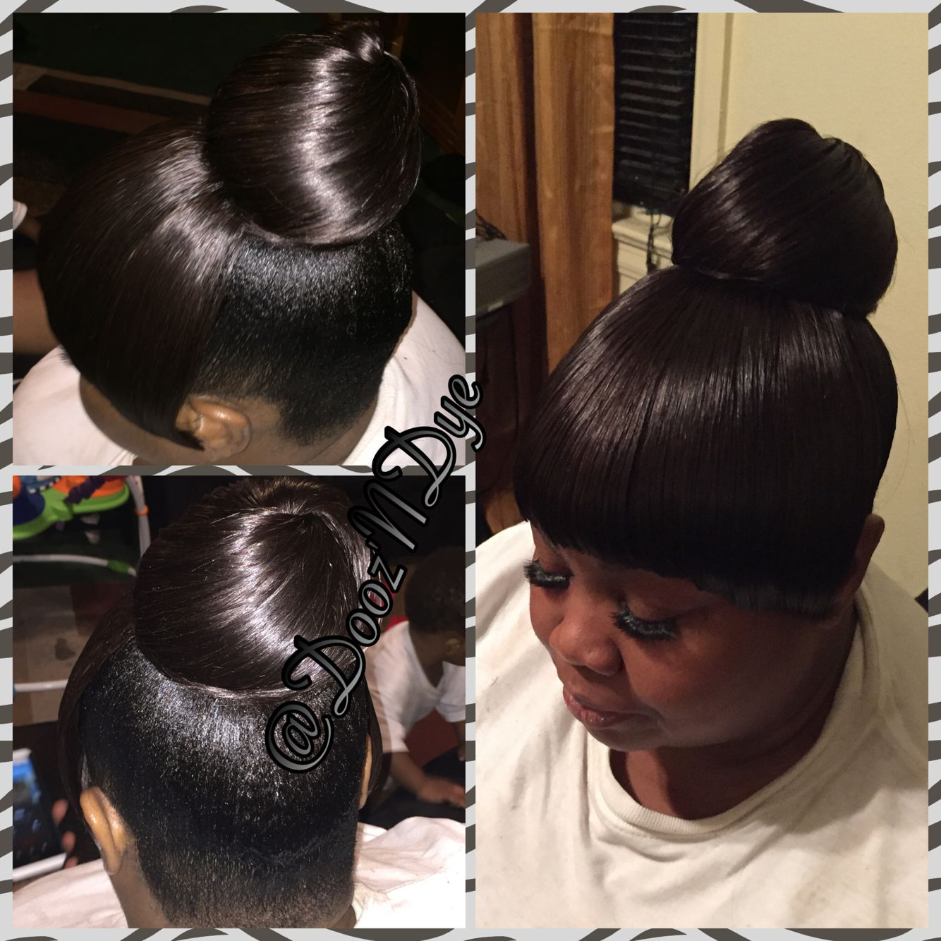 Hairstyles For Black Women  Black Haircare  Updo  Bun Styles  Bun And Bang  Quick Weave -3656
