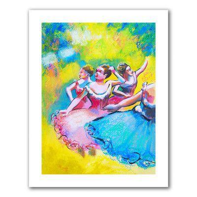 "ArtWall Interpretation of Three Ballerinas by Edgar Degas' by Susi Franco Painting Print on Rolled Canvas Size: 28"" H x 22"" W"