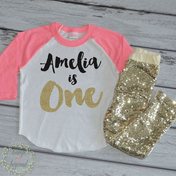 1st Birthday Shirt Personalized First And Sequin Pants Baby Girl Custom Name By Bump Beyond Designs On