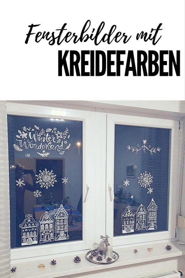 Weihnachtliche Fensterdeko mit Kreidemarkern
