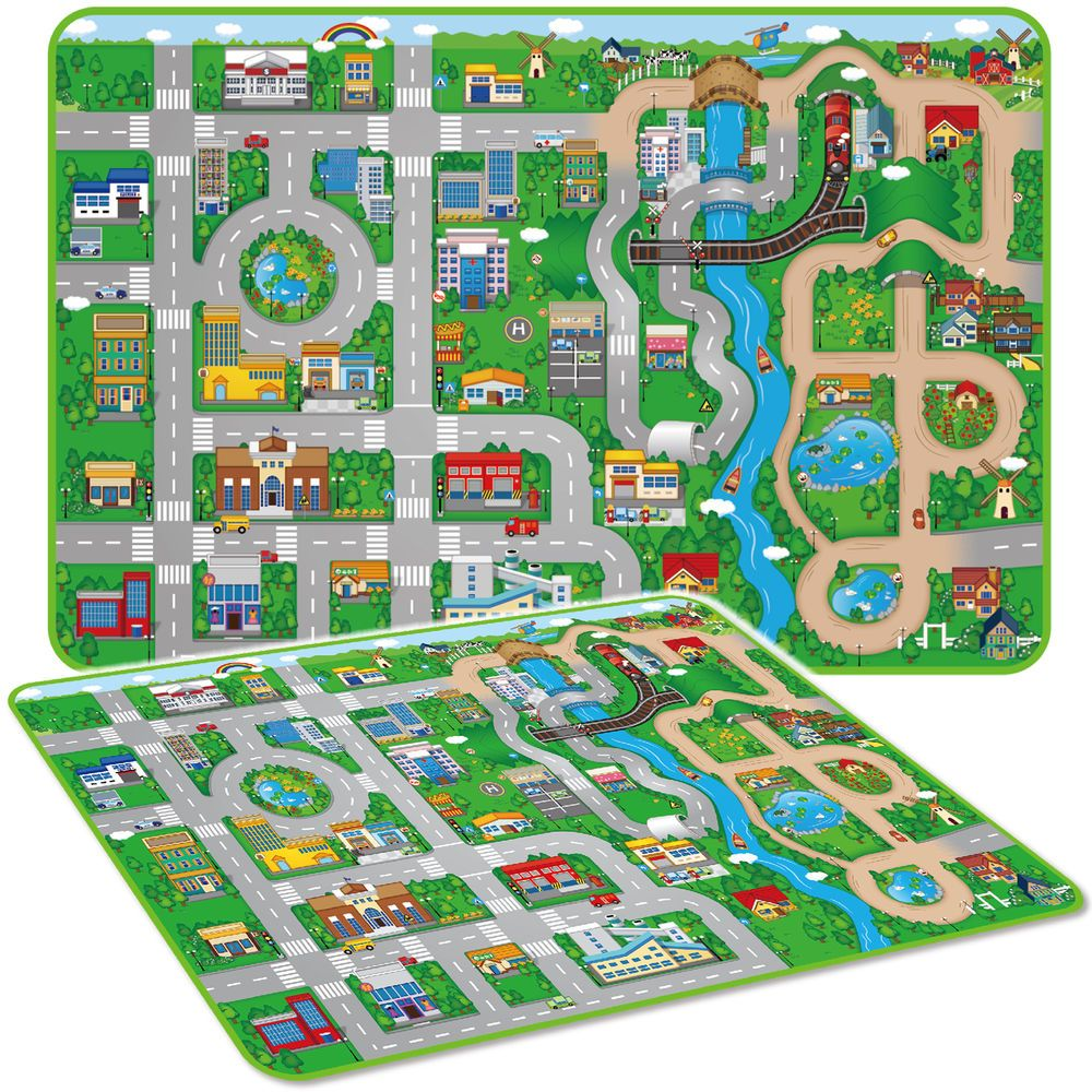 Giant Kids City Playmat Fun Town Cars Play Road Carpet Rug Eva