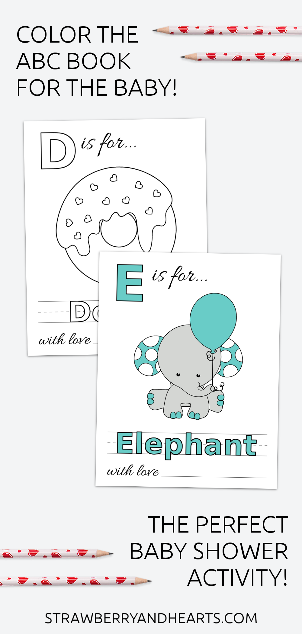 Baby S First Abc Book Coloring Pages Baby Shower Activity Baby Shower Activities Baby Shower Book Shower Activity [ 2100 x 1000 Pixel ]