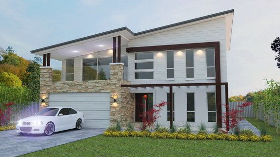 House Plan 302 M2 Or 3230 Sq Feet 4 Bed Study Nook 3 Etsy House Plans Australia Free House Plans Skillion Roof
