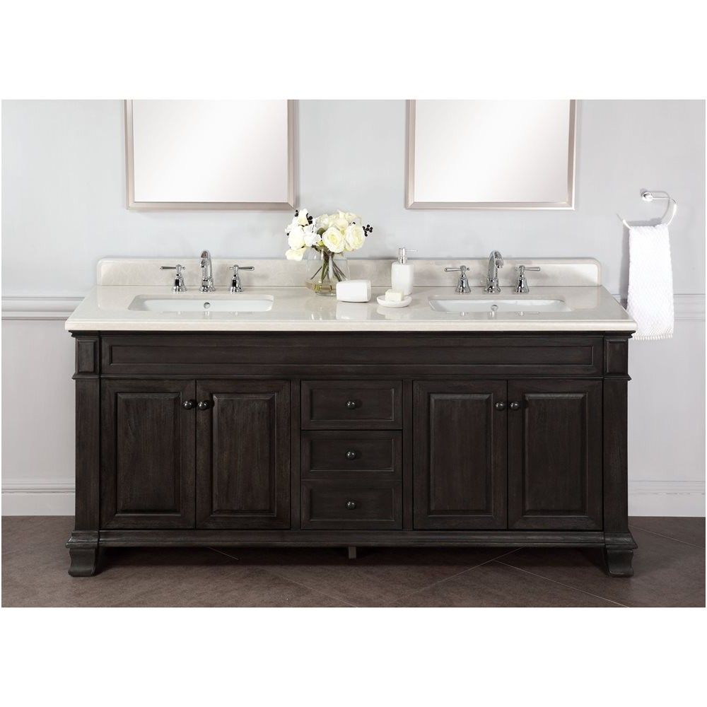 Abel 72 Inch Distressed Double Single Sink Bathroom Vanity Marble Top From Countertop