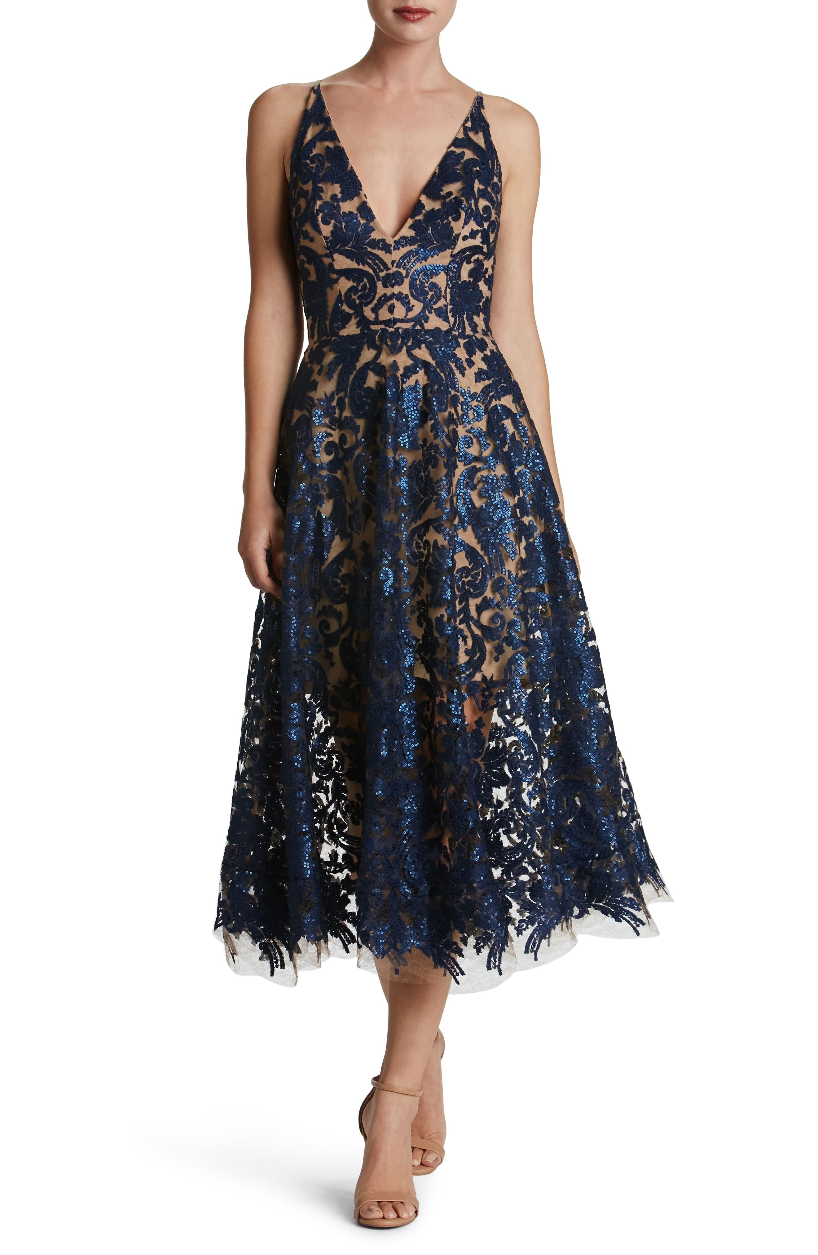 Navy Lace And Sheer Cocktail Dress Midi Tea Length Wedding Guest Dresses Blair Embellished Fit Flare Dre Flare Dress Dress The Population Coctail Dresses [ 4048 x 2640 Pixel ]