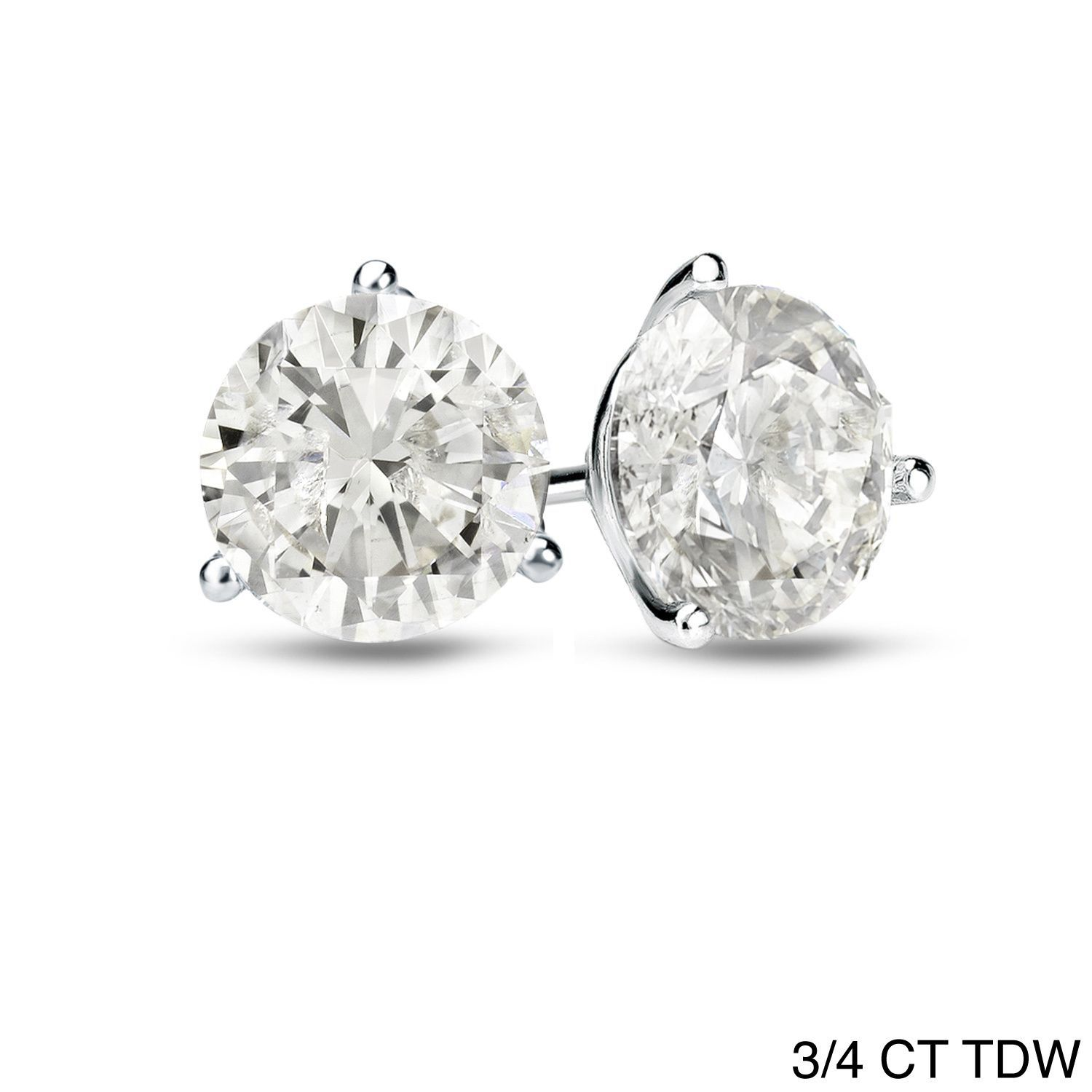 Platinum 1 4 Ct To 3 4 Ct Tdw 3 Prong Martini Diamond Stud Earrings By Auriya Diamond Studs Platinum Metal Jewelry