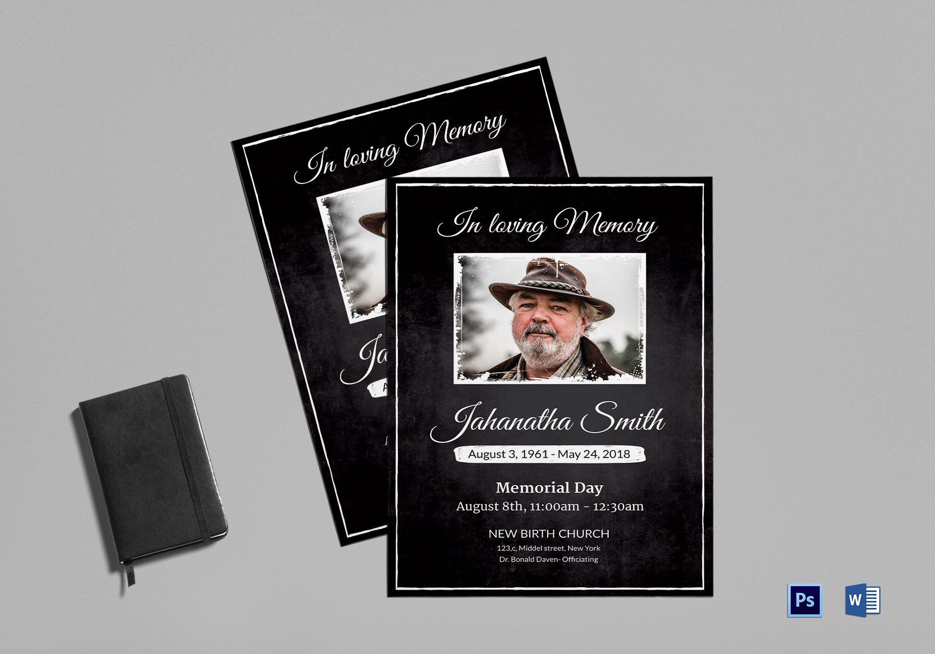 Memorial Bulletin Template Inside Memorial Card Template Word Professional Template Ideas Memorial Cards Card Template Teacher Cards