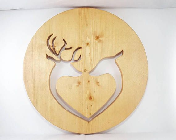 Rustic Doe And Deer Heart Wall Art, a great gift for Valentine\'s ...