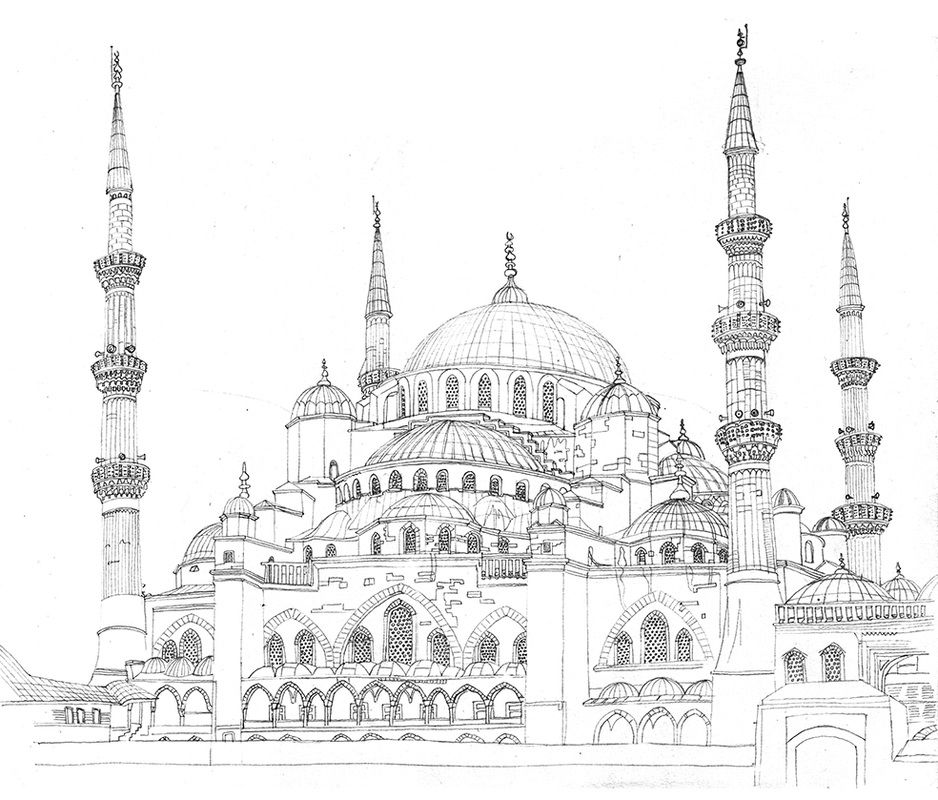 Drawing Istanbul By Studio Ellessi Mosque Art Architecture Drawing Art Architecture Drawing Sketchbooks