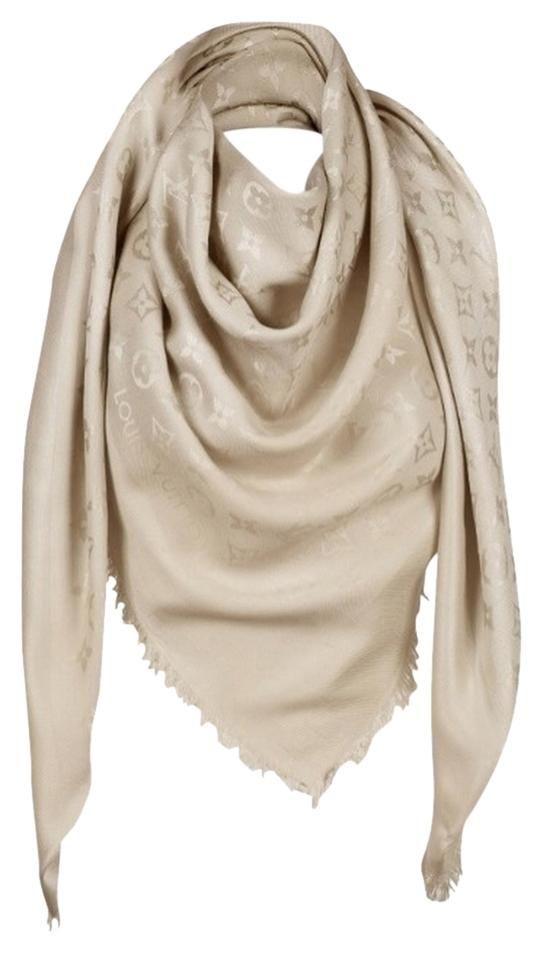 Louis Vuitton 100 Silk Monogram Beige Scarf 45 Off Retail Louis Vuitton Scarf Lv Scarf Louis Vuitton Monogram Shawl