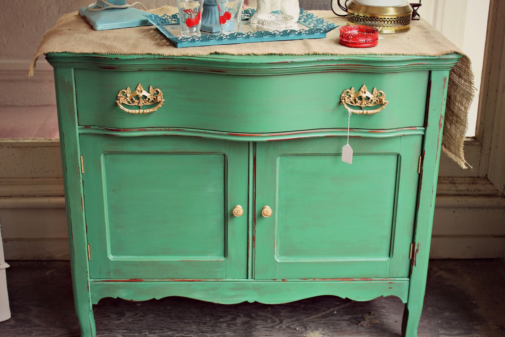 """Antique Washstand Painted In Mother Earth Paints """"Stems"""