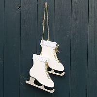 Schaatsen met kanten rand.    Hoogte schaats: 15cm, breedte: 14cm