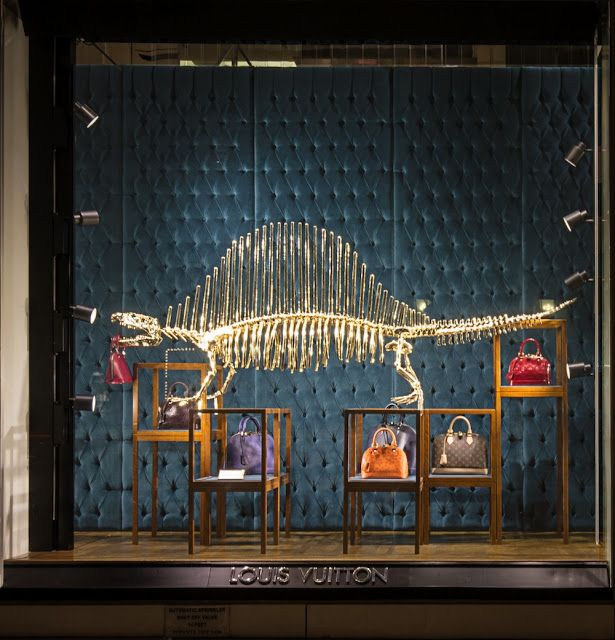 The Style Examiner: Gilded dinosaur skeletons at Louis Vuitton store in New York