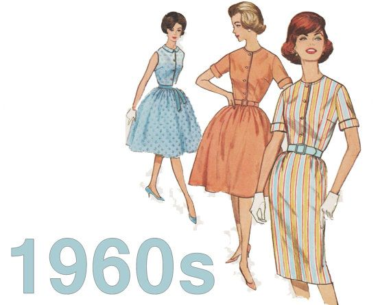 1960s Dress Pattern SIMPLICITY 4426 sz 18 b 38 Shirtwaist Dress Sheath Dress Full Skirt Dress Rockabilly Dress Fit and Flare Dress 60s Dress  Early 1960s dress pattern has front button top, slim or full skirt, sleeveless or short cuffed sleeve, optional Bermuda collar.  Size 18 Bust 38  Pattern is cut and complete. End of envelope is torn off--see photos.  See photo of back of envelope for pattern details. Click ZOOM for easy reading.  Visit my shop for more sewing patterns: https:/&#x2...
