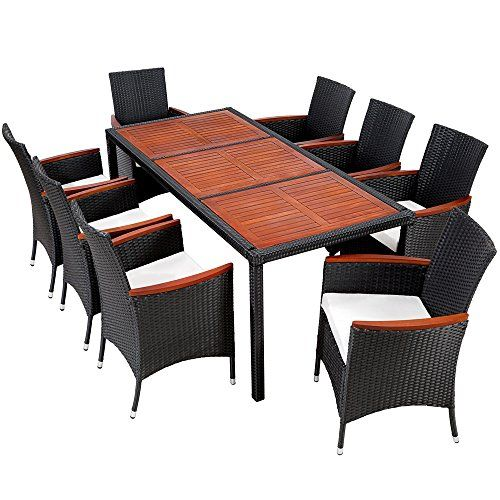 Lovely TecTake 8 Chairs + 1 Table Luxury Rattan Garden Furniture Set Outdoor Wicker  With Wood Brown Nice Design