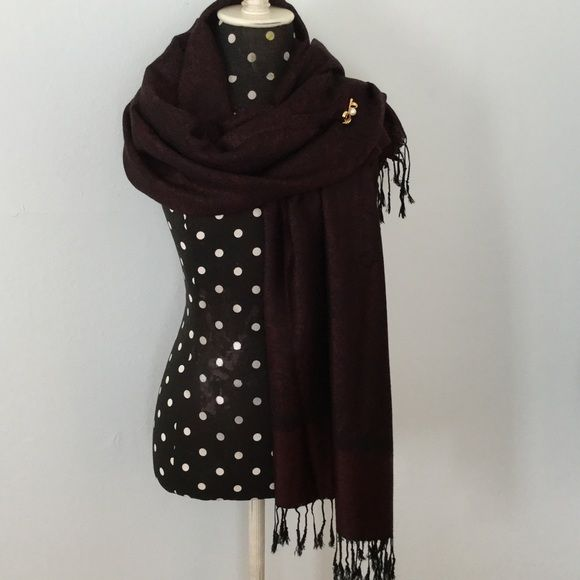 """Listing❤️Black and Burgundy Pashmina ❤️Look Stunning in this Classy Pashmina wrap for all your upcoming Soirees! Deep Burgundy and Black are the """"IT"""" colors this Season! Lovely light pattern woven with black fringe at ends. Wear it wrapped like a scarf or over shoulder tacked with a brooch. (Bow w/Pearl Pin available in closet). Simply STUNNING!❤️NWOT. Boutique Accessories Scarves & Wraps"""