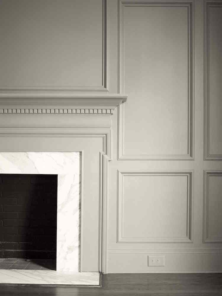 Nine Fabulous Benjamin Moore Warm Gray Paint Colors - laurel home | classic fireplace mantel and wall paneling painted in Benjamin Moore HC-172 Revere Pewter