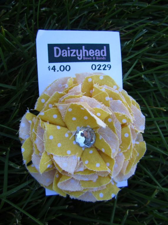 Yellow Shabby Chic Flower Clip by daizyheadboutique on Etsy, $4.00