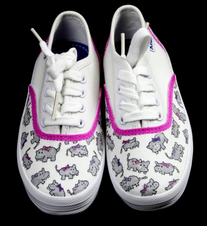 custom hippo shoes www.facebook.com/Junebug.Shoe.Designs
