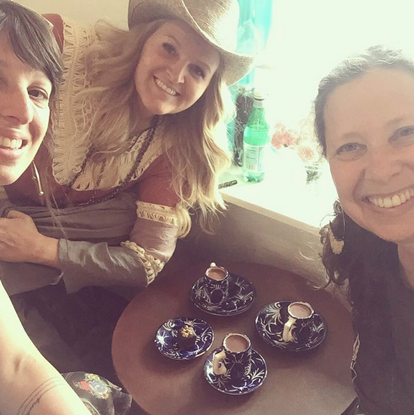 """As @melodyrossbravegirl likes to remind us, """"We're right in the middle of a perfect moment."""" So true. ☕️ @orlyavineri #santefe #girltime #kakawachocolatehouse #FloraBowley"""