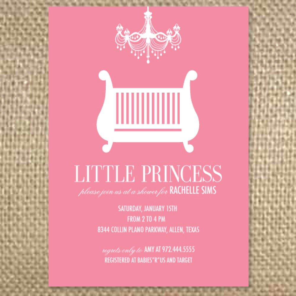 Baby Girl Chandelier Crib ShowerInvitation Via Etsy - Baby shower invitation text