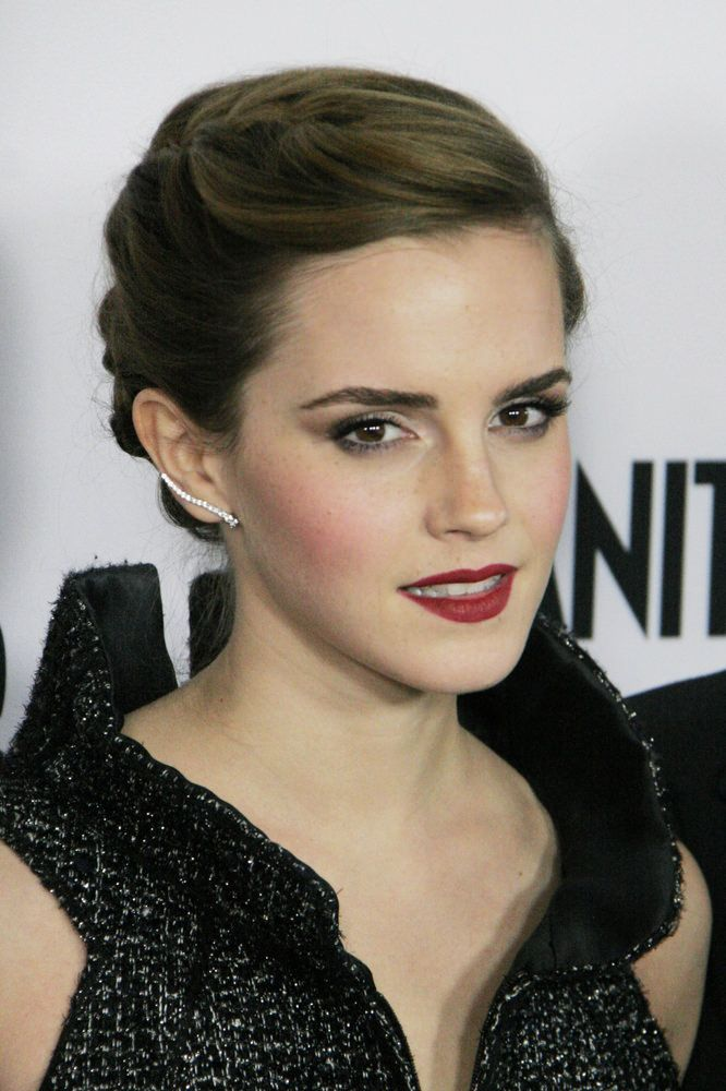 Emma Watson braided updo AND THE EYEBROWSSSS | Hair ...