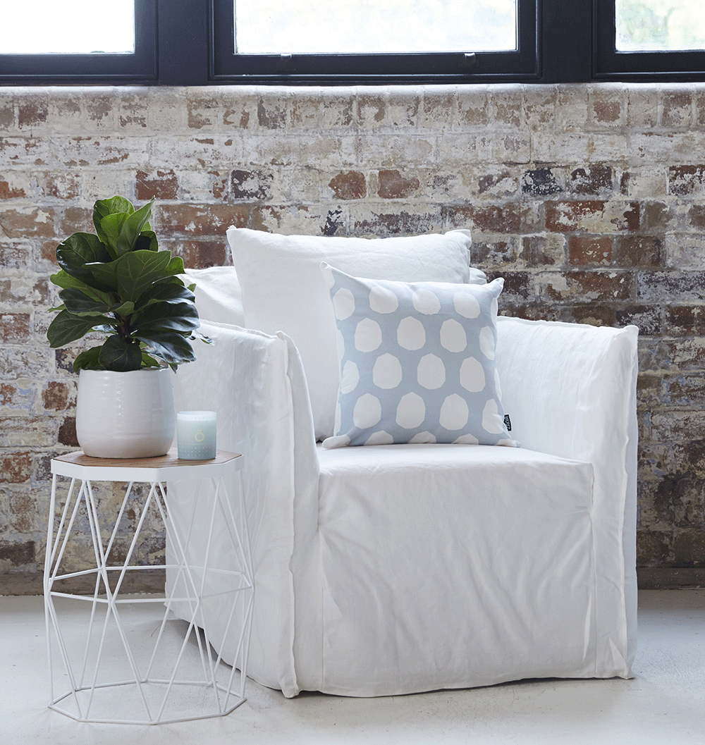 Bronte White Linen Armchair and Xaria American Oak and White Powder ...