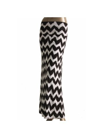 Black and White Chevron Banded Fold Over Waist Maxi Skirt