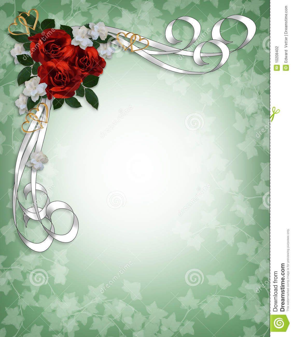Wedding Borders: Wedding Invitation Red Roses Border Stock Photography