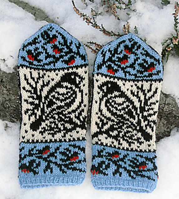Winterbirds pattern by Natalia Moreva | Ravelry, Mittens and Fair ...