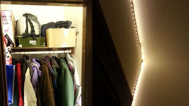 Use Rope Lights And An Automatic Switch To Illuminate A Small Closet Small Closet Small Apartment Bedrooms Small Clothes Closet