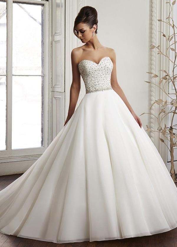 Hochzeitskleid Einfache, elegante Organza Satin Schatz Ausschnitt natürliche Taille Ballkleid Brautkleid mit Perlen & Strass Lauren Bridal