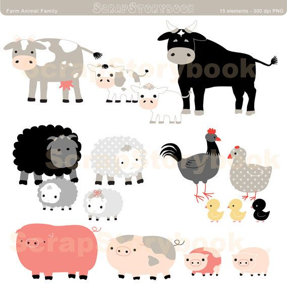 Farm Animal Family Set Mother Father And Children Clip Etsy In 2021 Family Set Farm Animals Sticker Paper Crafts