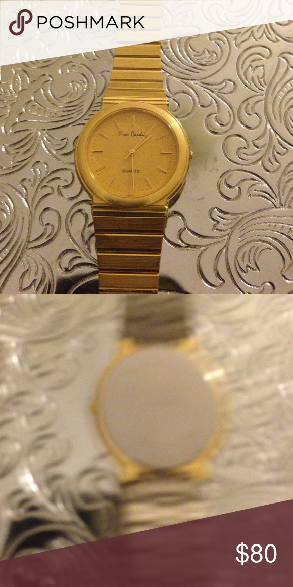 Pierre Cardin and quartz watch Vintage Pierre Cardin watch base metal bezel stainless steel back gorgeous watch faces gold dial gold shimmery face Accessories Jewelry