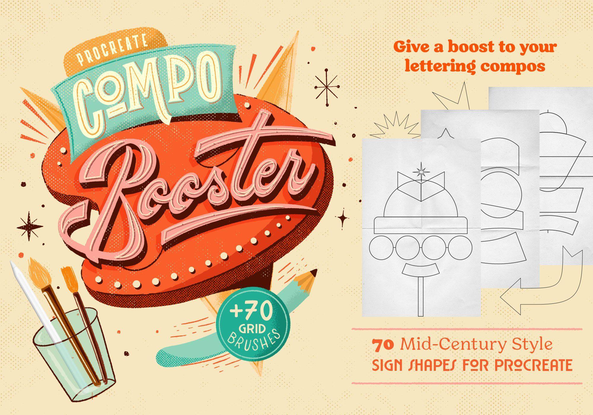 Compobooster Procreate Retro Brushes In 2020 Ipad Pro Apple Pencil Graphic Design Resources Neon Signs
