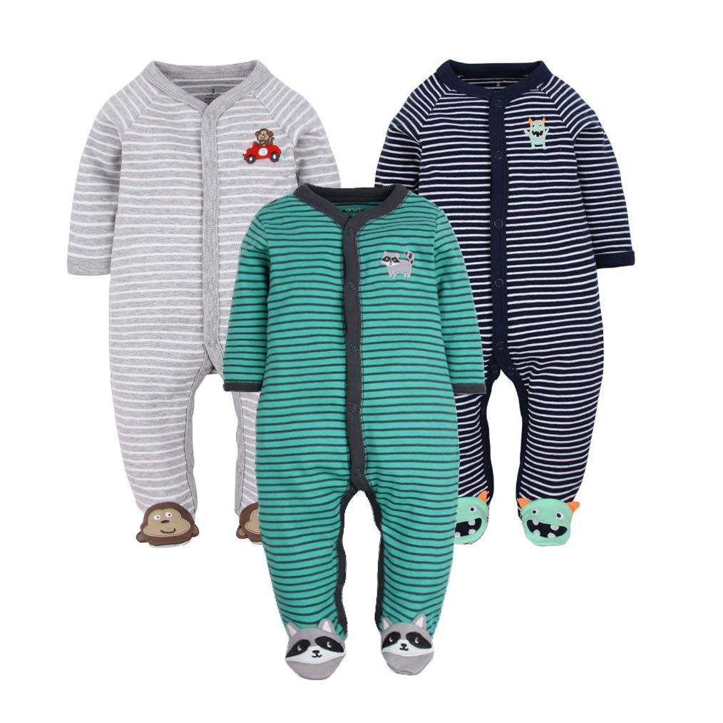 Glmtou Newborn Baby Footed Pajamas 3pack Boys And Girls Stripe Jumpsuits Cotton Long Sleeve Animal Printed Cloth In 2020 Baby Boy Outfits Baby Girl Clothes Boy Outfits