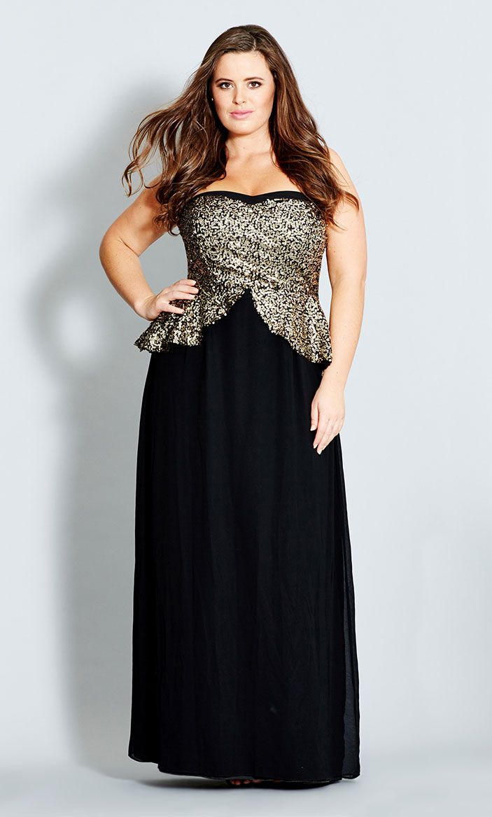 Sequin Peplum Maxi Dress | Plus Size Fashion Bug | Pinterest