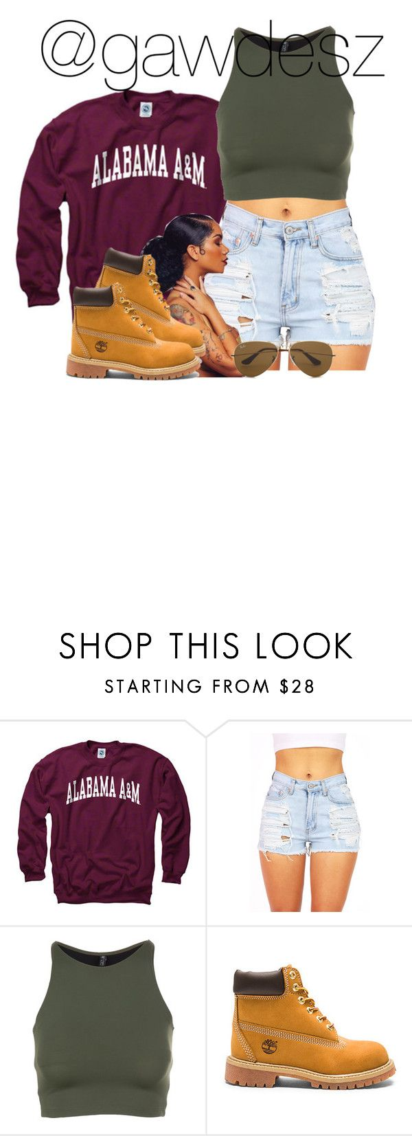 """""""she's working at the pyramid tonight"""" by gawdesz ❤ liked on Polyvore featuring Onzie, Timberland and Ray-Ban"""