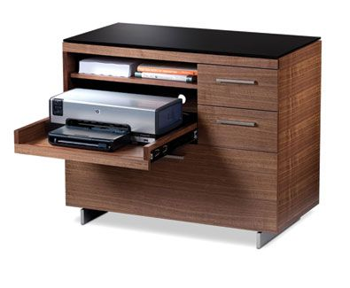 office lateral file cabinet with pullout storage for printer